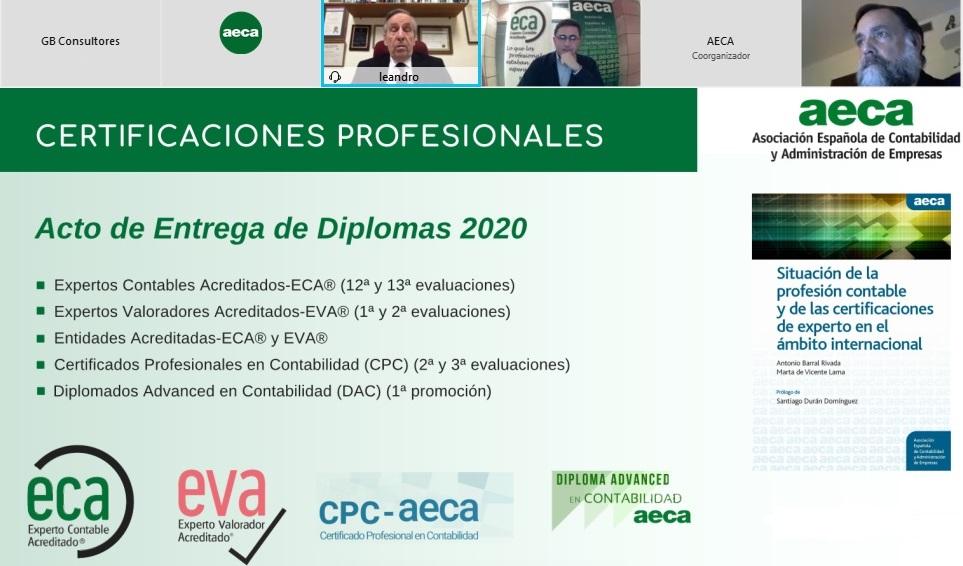Entrega de diplomas Certificaciones Profesionales AECA 2020